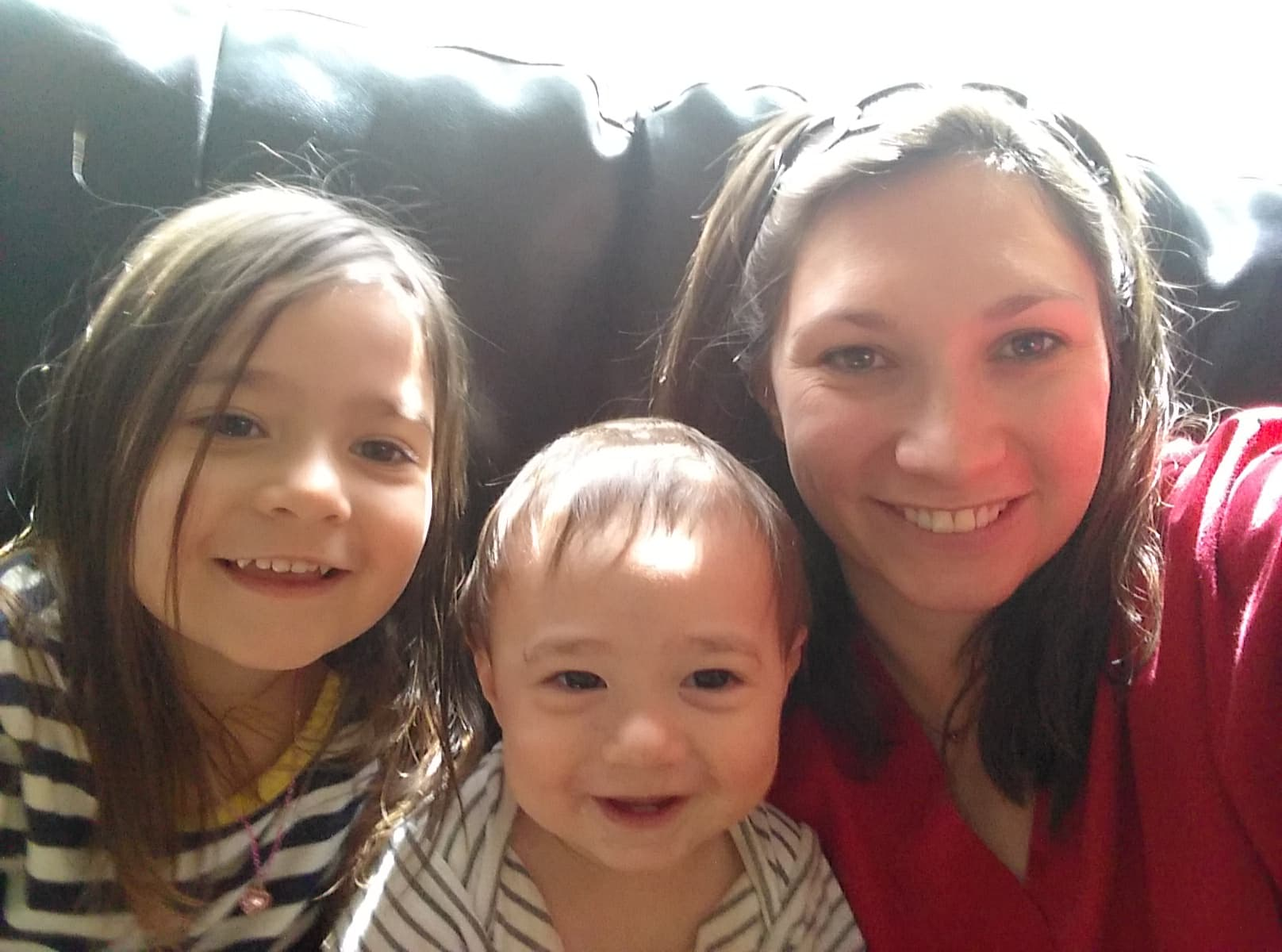 Grant recipient of the Pink Fund with her two children